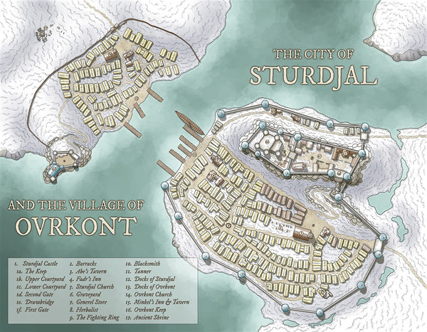 The City of Sturdjal RPG Fantasy Map Gallery Canvas Daniels Maps
