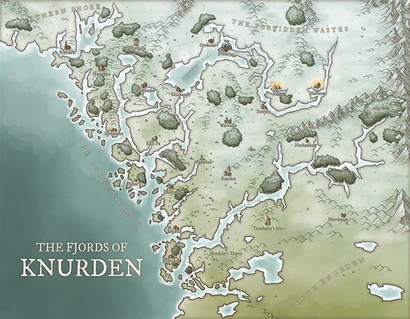 The Fjords of Knurden Fantasy Map Gallery Canvas Art Print Daniels Maps