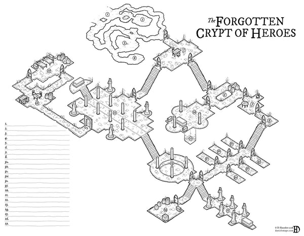 The Forgotten Crypt of Heroes RPG Fantasy Map Gallery Canvas Daniels Maps