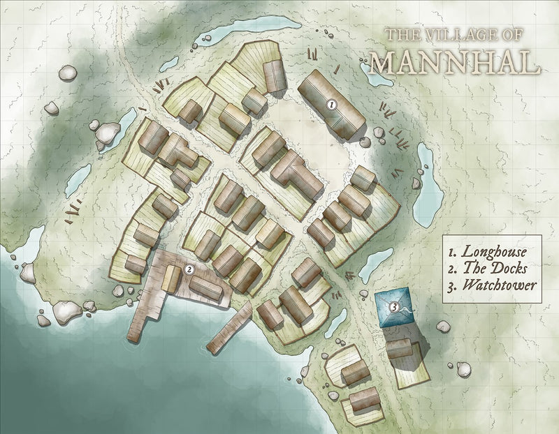 The Village of Mannhal Fantasy Map