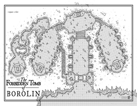 Tomb of Borolin Fantasy Map Gallery Canvas Art Print Daniels Maps