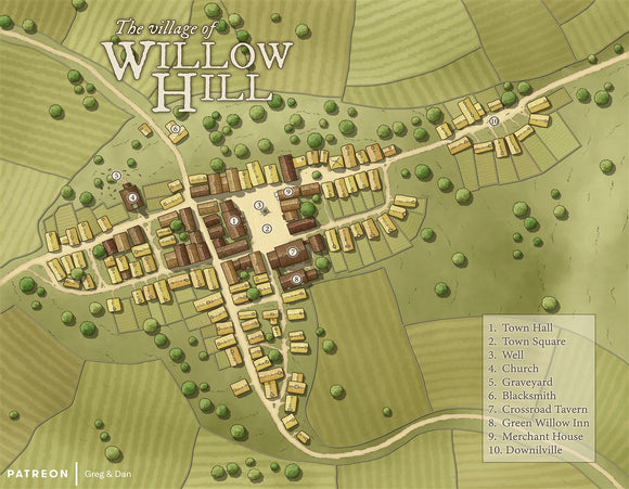 Willow Hill RPG Fantasy Map Gallery Canvas Daniels Maps