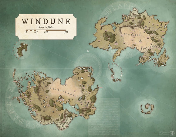 Windune Fantasy Map Gallery Canvas Art Print Daniels Maps