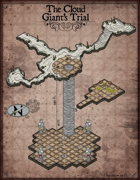 Cloud Giant's Trial Fantasy RPG Map Gallery Canvas Elven Tower