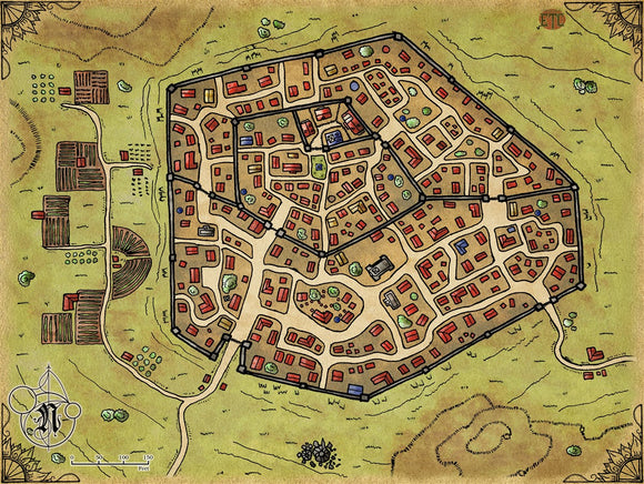 Double Walled City Fantasy RPG Map Gallery Canvas Elven Tower