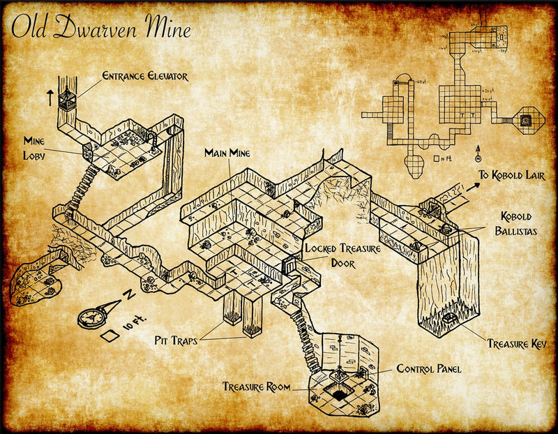 Dwarven Mine Fantasy Map
