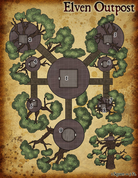 Elven Outpost Fantasy RPG Map Gallery Canvas Elven Tower