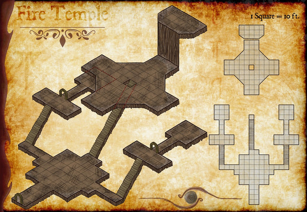 Fire Temple Fantasy RPG Map Gallery Canvas Elven Tower