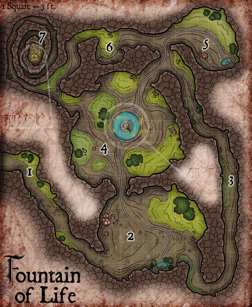 Fountain of Life Fantasy RPG Map Gallery Canvas Elven Tower