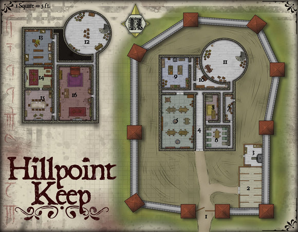 Hillpoint Keep Fantasy RPG Map Gallery Canvas Elven Tower