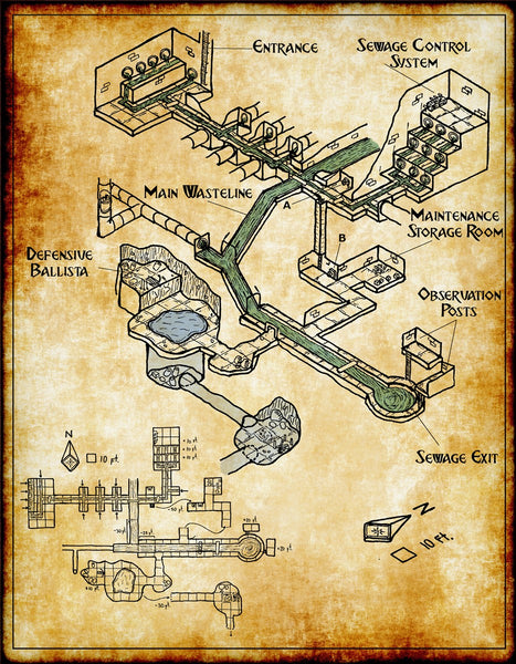 Infested Sewers Fantasy RPG Map Gallery Canvas Elven Tower