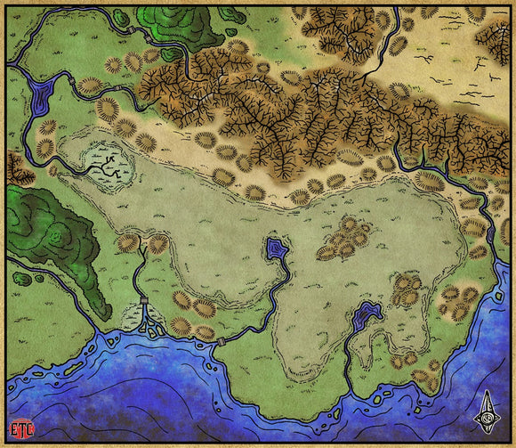Lake Countryside Fantasy RPG Map Gallery Canvas Elven Tower