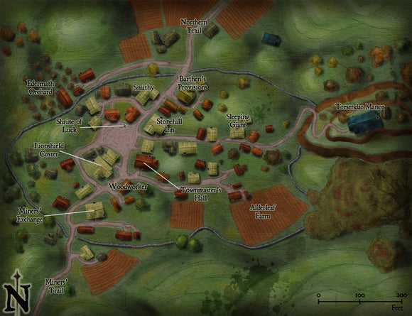 Mining Town Fantasy RPG Map Gallery Canvas Elven Tower