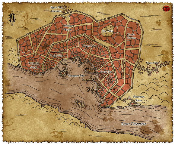 Riverside City Fantasy RPG Map Gallery Canvas Elven Tower