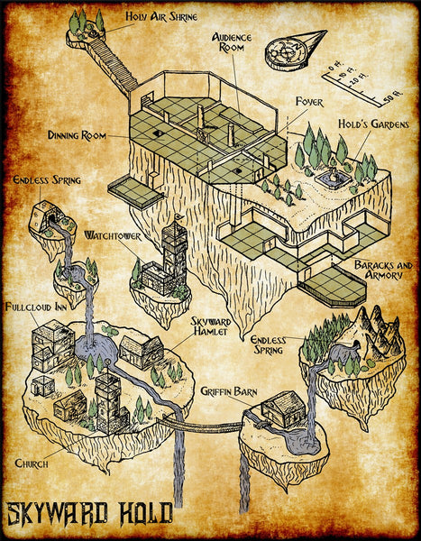 Skyward Hold Fantasy RPG Map Gallery Canvas Elven Tower