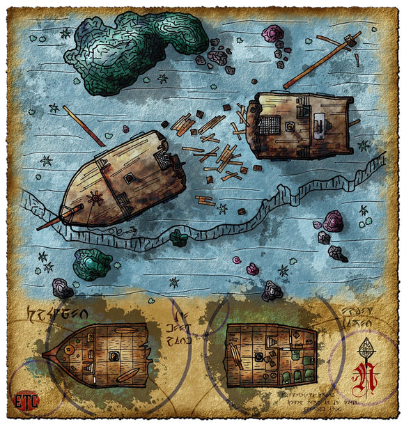 Sunken Ship Fantasy RPG Map Gallery Canvas Elven Tower