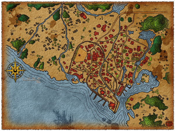 Swamp Settlement Fantasy RPG Map Gallery Canvas Elven Tower