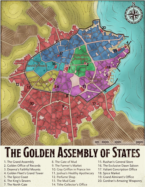 The Golden Assembly of States Fantasy RPG Map Gallery Canvas Elven Tower