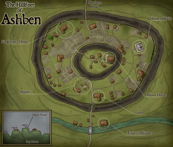 The Hillfort Of Ashben Fantasy RPG Map Gallery Canvas Elven Tower