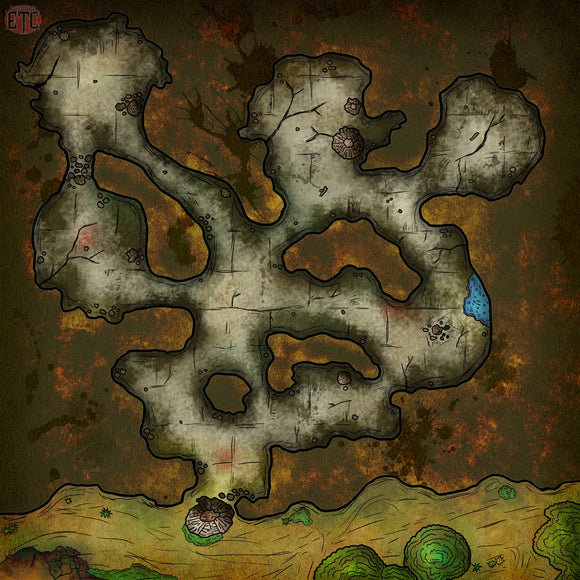Undiscovered Cave Fantasy RPG Map Gallery Canvas Elven Tower