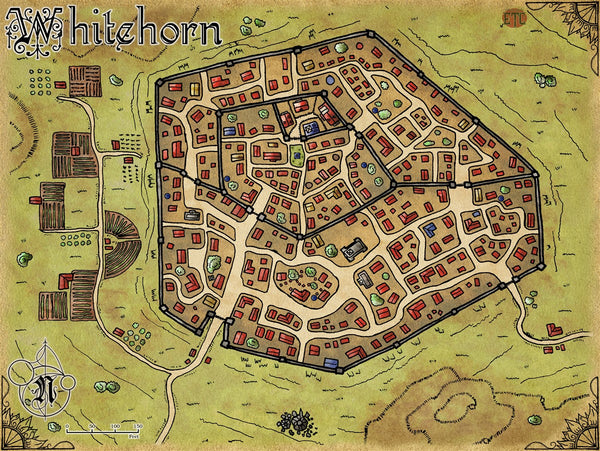 Whitehorn City Fantasy RPG Map Gallery Canvas Elven Tower