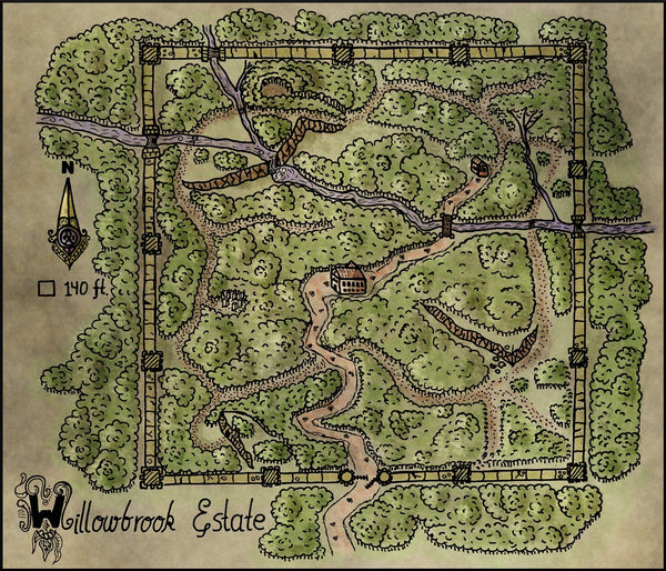 Willowbrook Estate Fantasy RPG Map Gallery Canvas Elven Tower