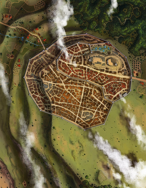 Foxdell City RPG Fantasy Map Gallery Canvas Alyssa Faden