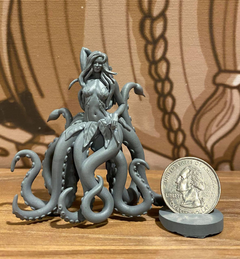 Kurvy Kraken 3d Printed Miniature Legends of Calindria Primed