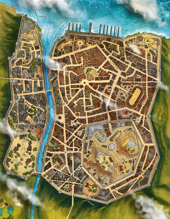 Morview City RPG Fantasy Map Gallery Canvas Alyssa Faden
