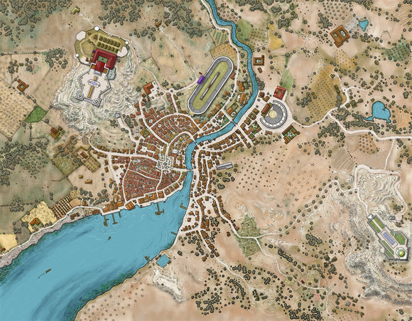 Rikadon - Zagora Games City RPG Fantasy Map Gallery Canvas Alyssa Faden