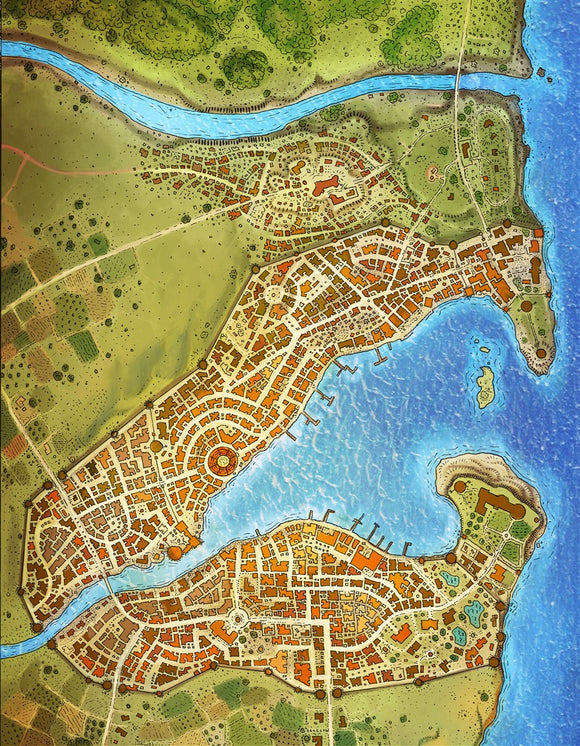 Slilgas City Fantasy Map Gallery Canvas Art Print Alyssa Faden