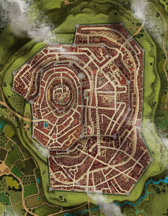 Starryfield City RPG Fantasy Map Gallery Canvas Alyssa Faden