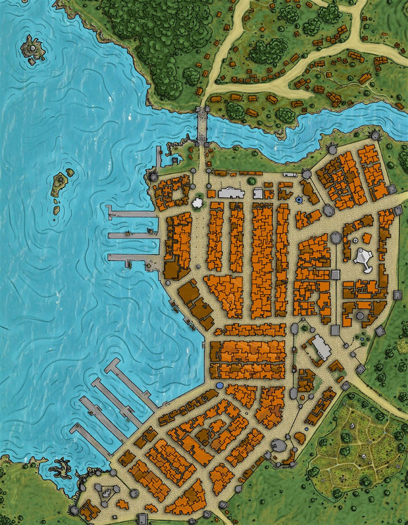 Summercoast City RPG Fantasy Map Gallery Canvas Alyssa Faden