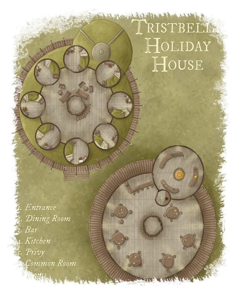 Tristbell's Holiday House Map Cotton T-Shirt