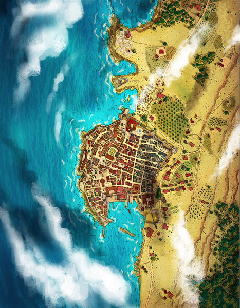 Zoria City Fantasy Map Gallery Canvas Art Print Alyssa Faden