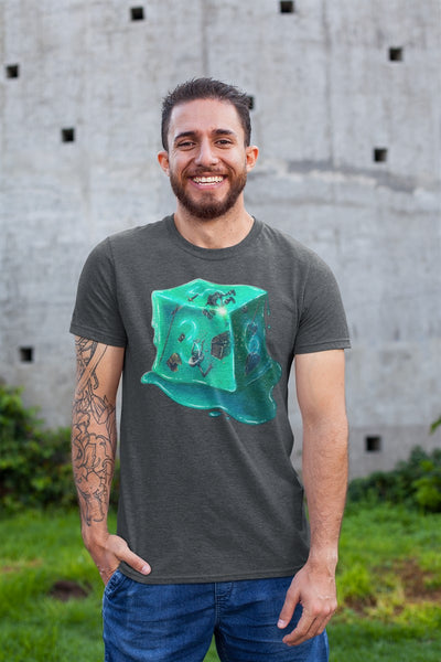Gelatinous Cube D6 RPG Cotton T-Shirt Geeks Collaborative Gaming
