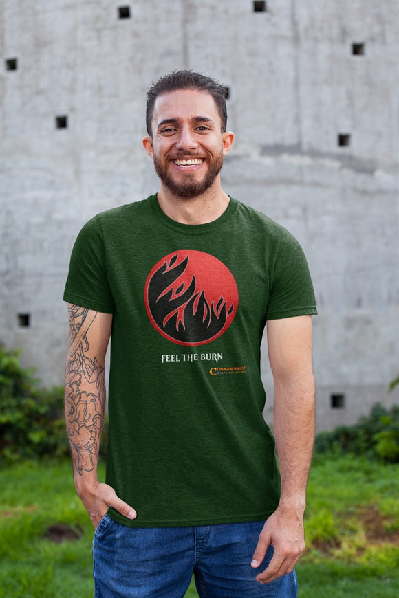 Red Feel The Burn RPG Cotton T-Shirt Commanderin' MTG Podcast