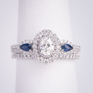 14kt White Gold  Diamond and Natural Sapphire Engagement Ring and Wedding Band