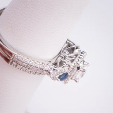 Load image into Gallery viewer, 14kt White Gold  Diamond and Natural Sapphire Engagement Ring and Wedding Band