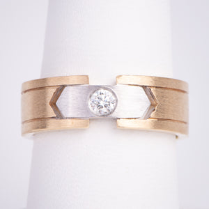 Men's 14kt White and Yellow Ring Diamond Ring