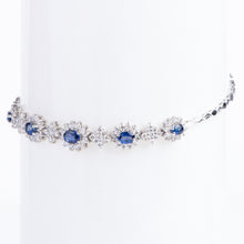 Load image into Gallery viewer, 14kt White Gold Natural Blue Sapphire and Diamond Bracelet