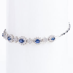14kt White Gold Natural Blue Sapphire and Diamond Bracelet