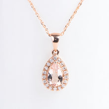 Load image into Gallery viewer, 14kt Rose Gold Natural Morganite and Diamond Pear Shape Pendant