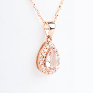 14kt Rose Gold Natural Morganite and Diamond Pear Shape Pendant