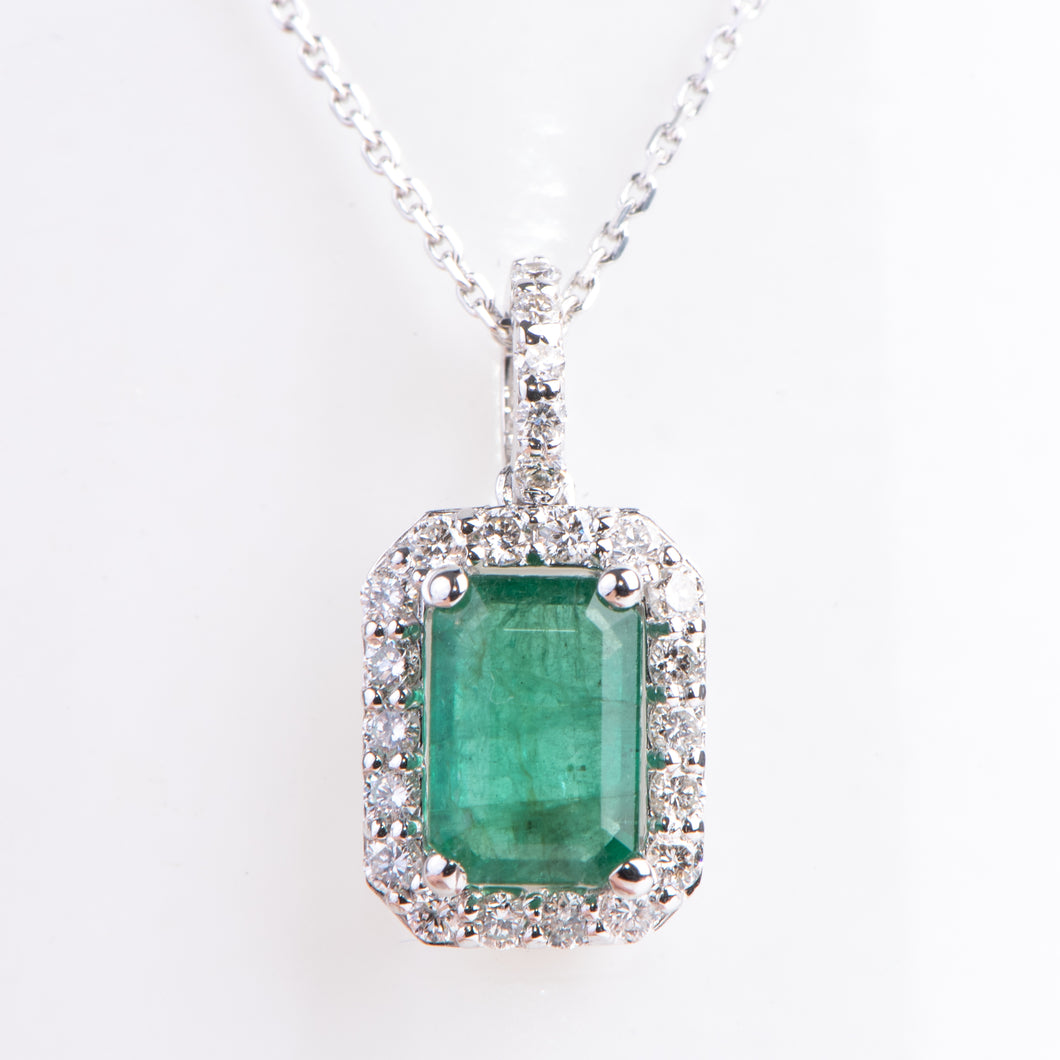 18kt White Gold Natural Emerald and Diamond Pendant