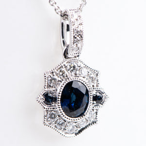 14kt White Gold Natural Sapphire and Diamond Pendant