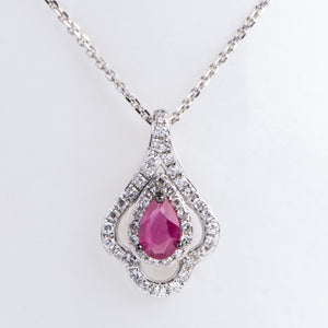 14kt White Gold Natural Ruby and Diamond Pendant