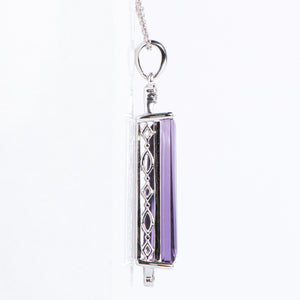 Fancy 14Kt White Gold Amethyst Pendant