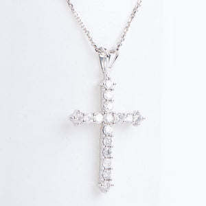 14kt White Gold Diamond Cross Pendant