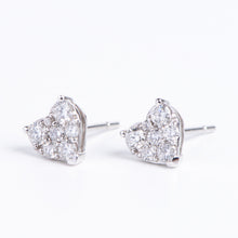 Load image into Gallery viewer, 14kt White Gold Heart Shaped Diamond Earrings